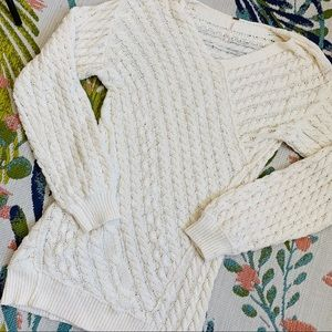 Free People Cream Cable Knit Sweater Dress